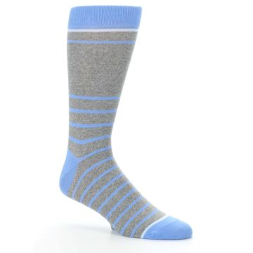Image of Gray Blue Heathered Stripe Men's Dress Socks (side-1-26)