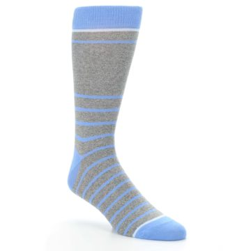 Image of Gray Blue Heathered Stripe Men's Dress Socks (side-1-27)