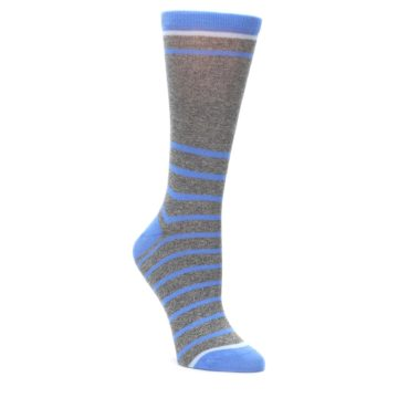 Gray-Blue-Heathered-Stripe-Womens-Dress-Socks-Statement-Sockwear