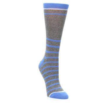 Image of Gray Blue Heathered Stripe Women's Dress Socks (side-1-front-02)