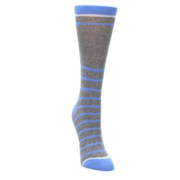 Image of Gray Blue Heathered Stripe Women's Dress Socks (side-1-front-03)