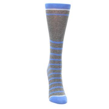 Image of Gray Blue Heathered Stripe Women's Dress Socks (front-04)