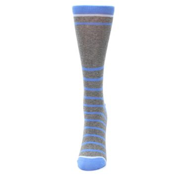 Image of Gray Blue Heathered Stripe Women's Dress Socks (side-2-front-06)