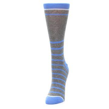 Image of Gray Blue Heathered Stripe Women's Dress Socks (side-2-front-07)