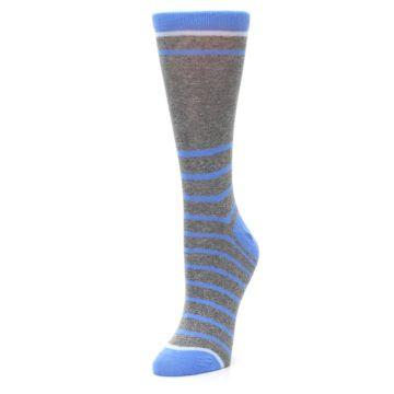 Image of Gray Blue Heathered Stripe Women's Dress Socks (side-2-front-08)
