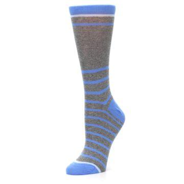 Image of Gray Blue Heathered Stripe Women's Dress Socks (side-2-09)