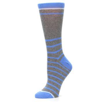 Image of Gray Blue Heathered Stripe Women's Dress Socks (side-2-10)