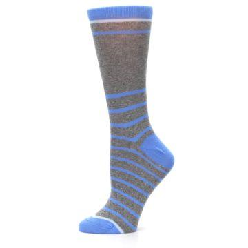 Image of Gray Blue Heathered Stripe Women's Dress Socks (side-2-11)