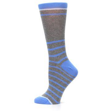 Image of Gray Blue Heathered Stripe Women's Dress Socks (side-2-12)