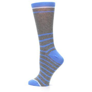 Image of Gray Blue Heathered Stripe Women's Dress Socks (side-2-13)