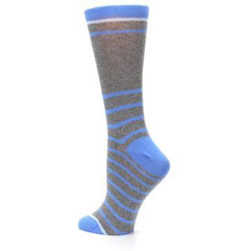 Image of Gray Blue Heathered Stripe Women's Dress Socks (side-2-back-14)