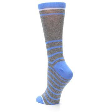 Image of Gray Blue Heathered Stripe Women's Dress Socks (side-2-back-15)