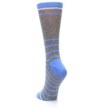 Image of Gray Blue Heathered Stripe Women's Dress Socks (side-2-back-16)