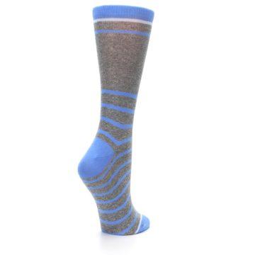 Image of Gray Blue Heathered Stripe Women's Dress Socks (side-1-back-22)