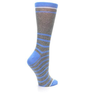 Image of Gray Blue Heathered Stripe Women's Dress Socks (side-1-23)