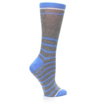 Image of Gray Blue Heathered Stripe Women's Dress Socks (side-1-24)
