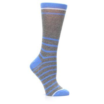 Image of Gray Blue Heathered Stripe Women's Dress Socks (side-1-25)