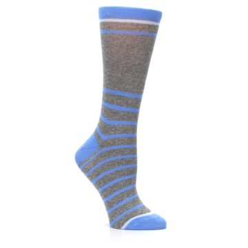 Image of Gray Blue Heathered Stripe Women's Dress Socks (side-1-26)