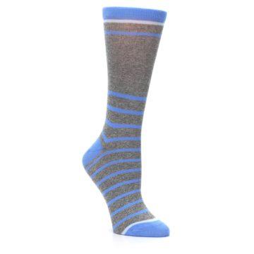 Image of Gray Blue Heathered Stripe Women's Dress Socks (side-1-27)