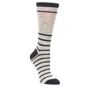 Light-Gray-Heathered-Stripe-Womens-Dress-Socks-Statement-Sockwear