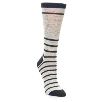 Image of Light Gray Heathered Stripe Women's Dress Socks (side-1-front-02)