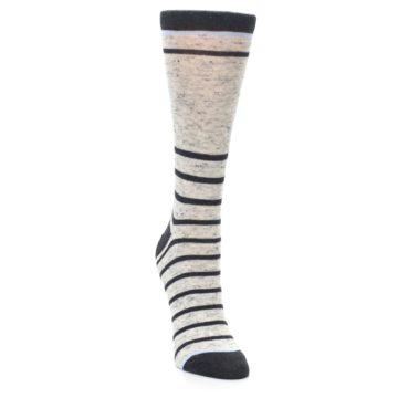Image of Light Gray Heathered Stripe Women's Dress Socks (side-1-front-03)