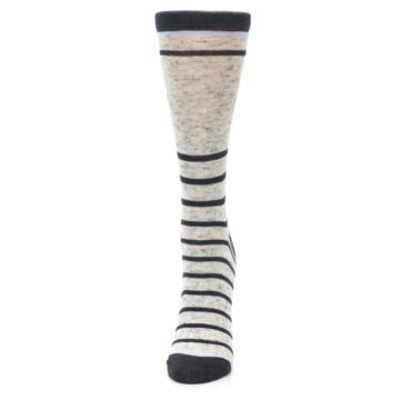 Image of Light Gray Heathered Stripe Women's Dress Socks (side-2-front-06)