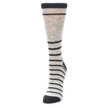 Image of Light Gray Heathered Stripe Women's Dress Socks (side-2-front-07)