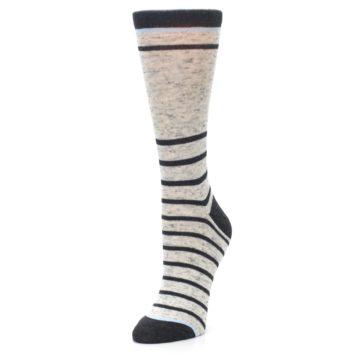 Image of Light Gray Heathered Stripe Women's Dress Socks (side-2-front-08)