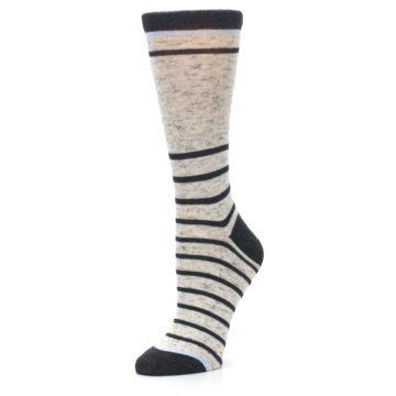 Image of Light Gray Heathered Stripe Women's Dress Socks (side-2-09)
