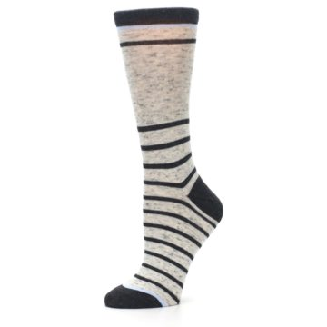 Image of Light Gray Heathered Stripe Women's Dress Socks (side-2-10)