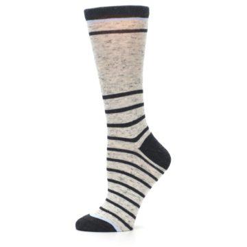Image of Light Gray Heathered Stripe Women's Dress Socks (side-2-11)