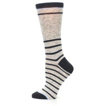 Image of Light Gray Heathered Stripe Women's Dress Socks (side-2-12)