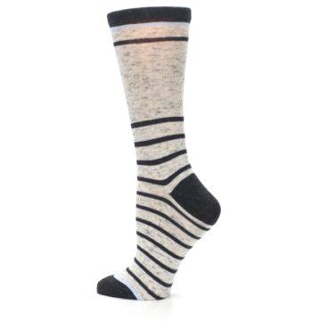 Image of Light Gray Heathered Stripe Women's Dress Socks (side-2-13)