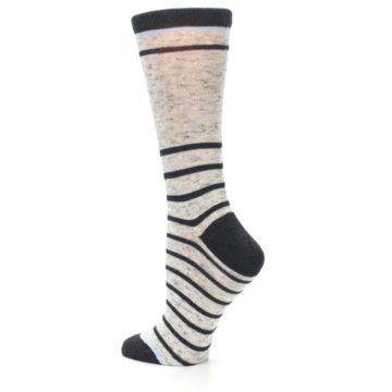 Image of Light Gray Heathered Stripe Women's Dress Socks (side-2-back-14)