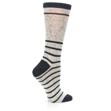 Image of Light Gray Heathered Stripe Women's Dress Socks (side-1-24)
