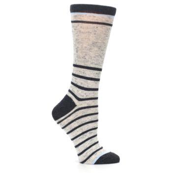 Image of Light Gray Heathered Stripe Women's Dress Socks (side-1-25)