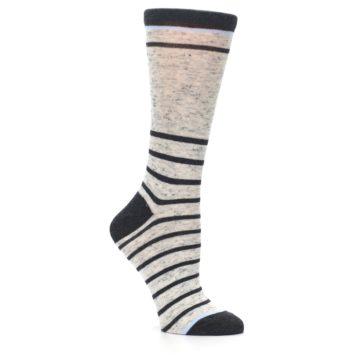Image of Light Gray Heathered Stripe Women's Dress Socks (side-1-26)
