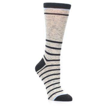 Image of Light Gray Heathered Stripe Women's Dress Socks (side-1-27)