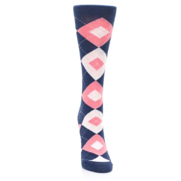 Image of Flamingo Petal Pink Navy Argyle Women's Dress Socks (front-04)
