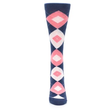 Image of Flamingo Petal Pink Navy Argyle Women's Dress Socks (front-05)
