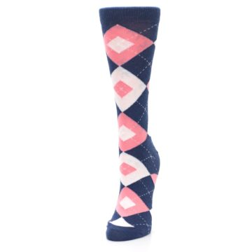 Image of Flamingo Petal Pink Navy Argyle Women's Dress Socks (side-2-front-07)