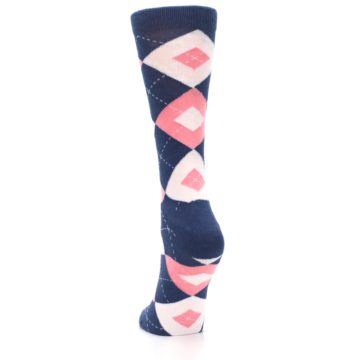Image of Flamingo Petal Pink Navy Argyle Women's Dress Socks (back-17)