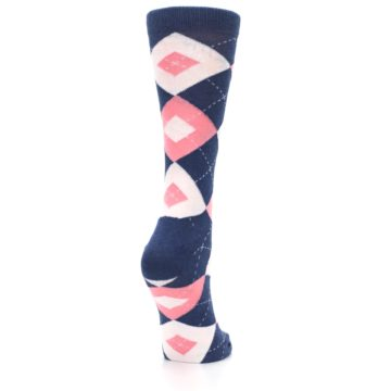 Image of Flamingo Petal Pink Navy Argyle Women's Dress Socks (side-1-back-21)