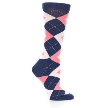 Image of Flamingo Petal Pink Navy Argyle Women's Dress Socks (side-1-25)