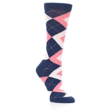 Image of Flamingo Petal Pink Navy Argyle Women's Dress Socks (side-1-27)