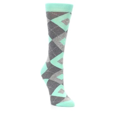 Image of Mint Green Gray Argyle Women's Dress Socks (side-1-front-02)