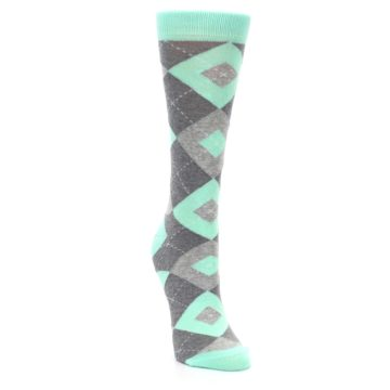 Image of Mint Green Gray Argyle Women's Dress Socks (side-1-front-03)