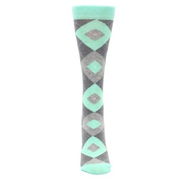 Image of Mint Green Gray Argyle Women's Dress Socks (front-05)