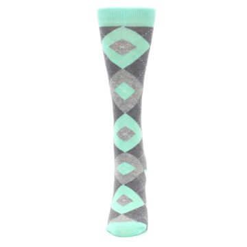Image of Mint Green Gray Argyle Women's Dress Socks (side-2-front-06)